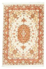 Tabriz 50 Raj Teppe 104X150 Ekte Orientalsk Håndknyttet Beige/Lysbrun (Ull/Silke, Persia/Iran)