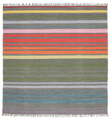 Rainbow Stripe - Grey Rug 200X200 Authentic  Modern Handwoven Square Dark Grey/Light Grey (Cotton, India)