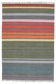 Rainbow Stripe - Grey Rug 140X200 Authentic  Modern Handwoven Dark Grey/Olive Green (Cotton, India)