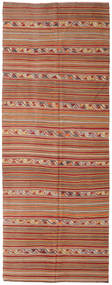 Kilim Semi Antique Turkish Rug 150X395 Authentic  Oriental Handwoven Hallway Runner  Light Brown/Dark Red (Wool, Turkey)