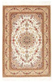 Isfahan Seidenkette Teppich  108X161 Echter Orientalischer Handgeknüpfter Beige/Braun (Wolle/Seide, Persien/Iran)