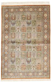 クム シルク 絨毯 100X149 オリエンタル 手織り 茶/薄茶色 (絹, ペルシャ/イラン)
