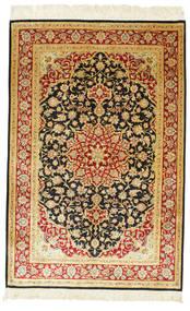 Qum Silk Signed: Qum Ahmadi Rug 98X148 Authentic Oriental Handknotted Beige/Rust Red (Silk, Persia/Iran)