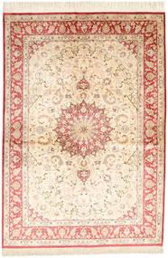Qom Mătase Semnat: Ahmadi Covor 139X198 Orientale Lucrat Manual Bej Închis/Galben (Mătase, Persia/Iran)