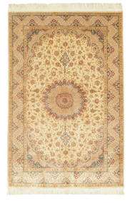 Qum Silk Signed: Ahmadi Rug 130X197 Authentic  Oriental Handknotted Light Brown/Yellow (Silk, Persia/Iran)