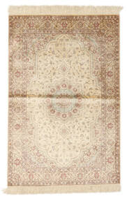 Ghom Silke Signerad: Nori Matta 104X154 Äkta Orientalisk Handknuten Beige/Ljusbrun (Silke, Persien/Iran)