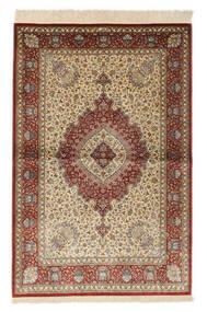 Ghom Silke Signerad: Ghom Kazemi Matta 98X149 Äkta Orientalisk Handknuten Brun/Ljusbrun (Silke, Persien/Iran)