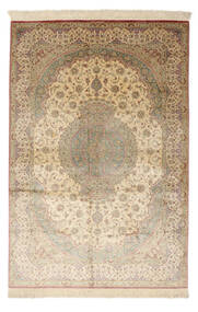 Qum Silk Signed: Qum Mosavi Rug 128X200 Authentic  Oriental Handknotted Light Brown/Yellow (Silk, Persia/Iran)