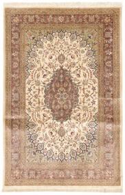 Qum Silk Rug 131X208 Authentic  Oriental Handknotted Light Brown/Beige (Silk, Persia/Iran)