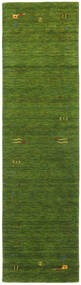 Gabbeh Loom Frame - Green Rug 80X300 Modern Hallway Runner Dark Green/Olive Green (Wool, India)