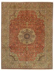 Tabriz 50 Raj Med Silke Signert: Pornami Teppe 300X395 Ekte Orientalsk Håndknyttet Brun/Lysbrun Stort (Ull/Silke, Persia/Iran)