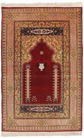 Herike Tu Koberec 82X130 Orientální Ručně Tkaný Tmavě Červená/Světle Hnědá (Hedvábí, Turecko)