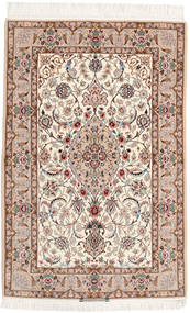 Isfahan Silk Warp Rug 108X164 Authentic Oriental Handknotted Light Brown/Brown/Beige (Wool/Silk, Persia/Iran)