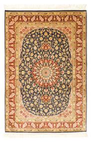 Ghom Silkki Matto 99X150 Itämainen Käsinsolmittu Vaaleanruskea/Oranssi (Silkki, Persia/Iran)