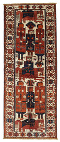 Lori Rug 145X370 Authentic  Oriental Handknotted Hallway Runner  Dark Red/Dark Brown (Wool, Persia/Iran)