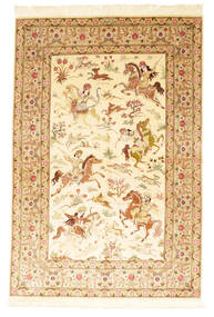 Ghom Silke Signatur: Sharifi Tæppe 129X199 Ægte Orientalsk Håndknyttet Beige/Mørk Beige (Silke, Persien/Iran)