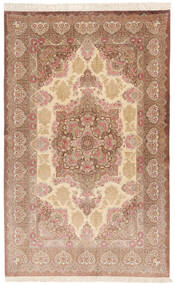 Qum Silk Signed: Rezai Rug 130X203 Authentic  Oriental Handknotted Light Brown/Brown (Silk, Persia/Iran)
