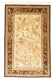 Ghom Silke Figur/Bilde Signert: Ghom Moghadam Teppe 95X152 Ekte Orientalsk Håndknyttet Lysbrun/Beige (Silke, Persia/Iran)