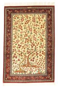 Ghom Silke Signerad: Motevasel Matta 101X153 Äkta Orientalisk Handknuten Beige/Mörkröd (Silke, Persien/Iran)
