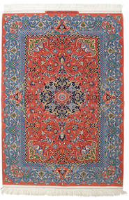 Isfahan Silk Warp Signed: Haghighi Rug 150X220 Authentic  Oriental Handknotted Light Grey/Brown (Wool/Silk, Persia/Iran)