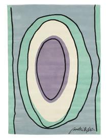 Oval Tapis 135X190 Moderne Fait Main Vert Pastel/Gris Clair/Bleu Clair (Laine, Inde)