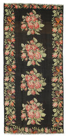 Rose Kelim Rug 155X363 Authentic  Oriental Handwoven Hallway Runner  Black/Dark Grey (Wool, Moldova)
