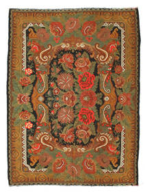 Rose Kelim Rug 208X274 Authentic  Oriental Handwoven Brown/Olive Green (Wool, Moldova)