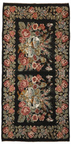 Rose Kelim Rug 200X410 Authentic Oriental Handwoven Black/Dark Grey (Wool, Moldova)
