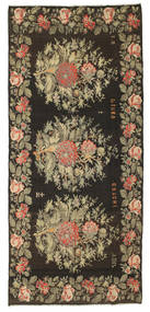 Rose Kelim Rug 191X430 Authentic  Oriental Handwoven Hallway Runner  Dark Grey/Olive Green (Wool, Moldova)