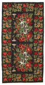 Rose Kelim Rug 198X380 Authentic  Oriental Handwoven Black/Dark Brown (Wool, Moldova)