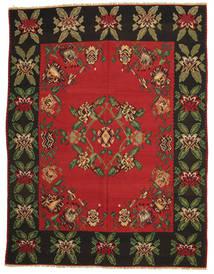 Kelim Halbantik Teppich  257X340 Echter Orientalischer Handgewebter Schwartz/Rost/Rot Großer (Wolle, Slowenien)