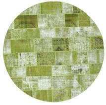 Patchwork Rug Ø 300 Authentic  Modern Handknotted Round Light Green/Olive Green Large (Wool, Turkey)