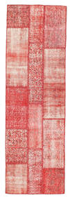 Patchwork Rug 80X252 Authentic  Modern Handknotted Hallway Runner  Light Pink/Rust Red (Wool, Turkey)