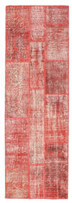 Patchwork Rug 81X247 Authentic  Modern Handknotted Hallway Runner  Light Pink/Rust Red (Wool, Turkey)