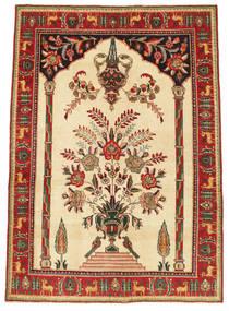 Tabriz Patina Tæppe 130X180 Ægte Orientalsk Håndknyttet Beige/Mørkerød (Uld, Persien/Iran)