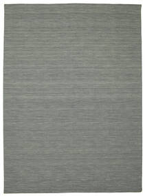Kilim Loom - Dark Grey Rug 8′2″x11′6″ Authentic  Modern Handwoven Light Grey/Dark Grey Large (Wool, India)