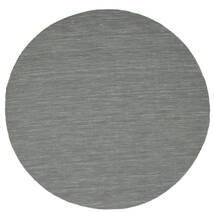 Kilim Loom - Dark Grey Rug Ø 200 Authentic Modern Handwoven Round Light Grey/Dark Grey (Wool, India)