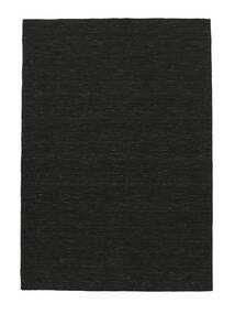 Kelim Loom - Schwarz Teppich  160X230 Echter Moderner Handgewebter Schwartz (Wolle, Indien)