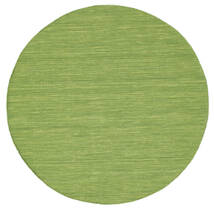 Kilim Loom - Green Rug Ø 150 Authentic  Modern Handwoven Round Olive Green (Wool, India)