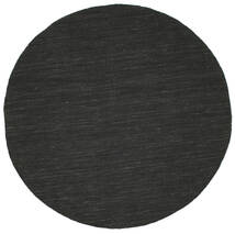 Kilim Loom - Black Rug Ø 150 Authentic Modern Handwoven Round Dark Grey (Wool, India)