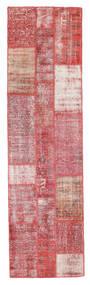 Patchwork Matto 82X301 Moderni Käsinsolmittu Käytävämatto Tummanbeige/Vaaleanpunainen (Villa, Turkki)