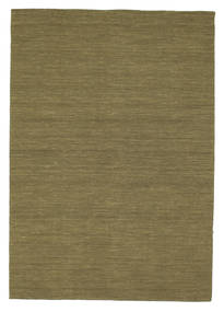 Kilim Loom - Olive Rug 160X230 Authentic Modern Handwoven Olive Green (Wool, India)