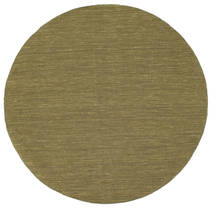 Kilim Loom - Olive Rug Ø 150 Authentic  Modern Handwoven Round Olive Green (Wool, India)