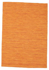 Kelim Loom - Orange Teppich  140X200 Echter Moderner Handgewebter Orange (Wolle, Indien)