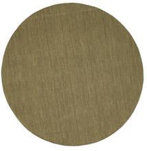 Kelim Loom - Olive Teppich  Ø 250 Echter Moderner Handgewebter Rund Olivgrün Großer (Wolle, Indien)