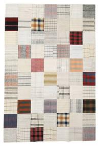 Kelim Patchwork Teppich  199X296 Echter Moderner Handgewebter Weiß/Creme/Beige (Wolle, Türkei)