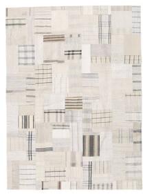 Килим Лоскутные Ковер 170X230 Современный Сотканный Вручную Бежевый/Светло-Серый (Шерсть, Турция)
