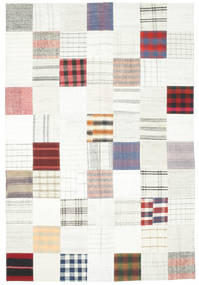 Kilim Patchwork Rug 201X303 Authentic  Modern Handwoven Beige/White/Creme (Wool, Turkey)
