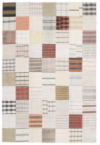 Kilim Patchwork Rug 201X303 Authentic  Modern Handwoven Beige/White/Creme (Wool, Turkey)