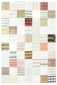 Kilim Patchwork Rug 201X301 Authentic  Modern Handwoven White/Creme/Beige (Wool, Turkey)